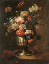 still life with roses, carnations, narcissi and various other flowers together in an urn on a stone ledge by benito espinos
