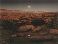 moonrise over pie pan, capitol reef national park, utah by john pfahl