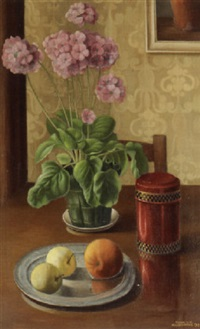 still life with primula by toon van den muysenberg