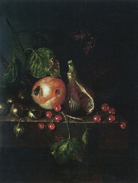 still life of a fig, a plum, gooseberries and redcurrants, together with a fly and a tortoiseshell butterfly, upon a stone ledge by catharina treu