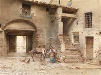 italienischer hof mit einem jungen paar, esel und hühnern by scipione simoni