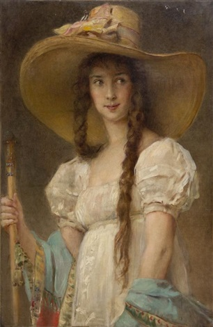 woman in white with hat madame marina flamant by konstantin egorovich makovsky