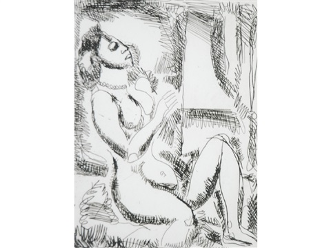 a seated naked female figure by georges rouault