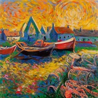 boats in harbour by shahin memishi