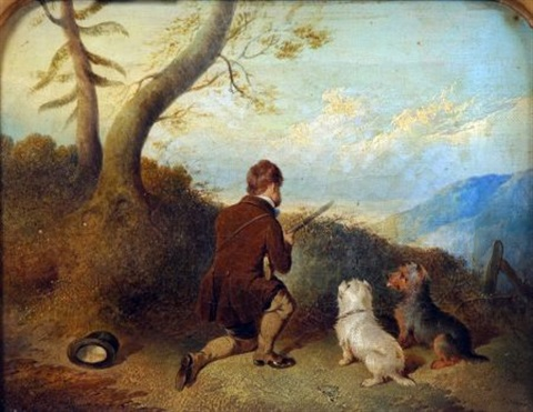 hunter with two terriers by paul jones