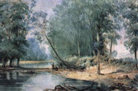aboriginal figures by a river by oswald rose campbell