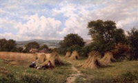 figures in a field with haystacks, distant valley by carl brennir