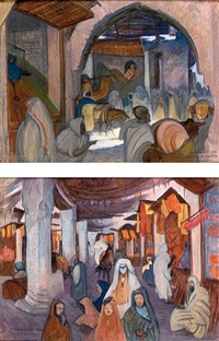 marrakech carrefour sidiaziz (+ marrakech souk aux sacs; 2 works) by maurice rodieux
