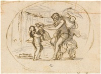 a winged female figure and a putto by pietro da cortona
