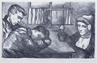 three people of the island of walcheren in an interior by charley toorop