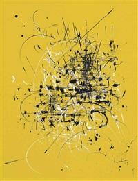 composition noir et blanc sur jaune (black and white composition on yellow) by georges mathieu