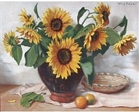 sunflowers in an earthenware pot by willy fleur