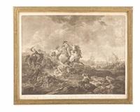 tigerjagd in südamerika - prinz karl heinrich von nassau-siegen und graf louis a. de bougainville (after francois-joseph casanova) by johann jacobe