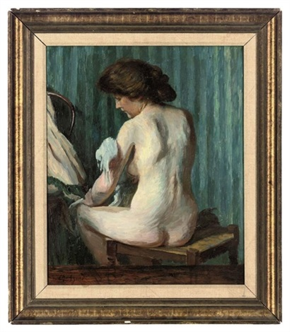 a nude at her toilet by charles jean agard