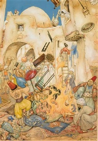 the 38st night, the story of kafoer; the rampsacking of the house by anton pieck