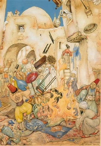 the 38st night the story of kafoer the rampsacking of the house by anton pieck