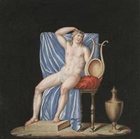 apollo sitzend, zu seiner linken eine leiter by andrea appiani