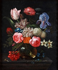 blomsterstilleben på stenskiva by nicolaes van veerendael