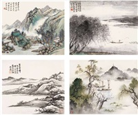various landscapes (various sizes) by he tianjian and wu hufan