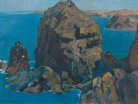 a rocky cornish coastal scene by r. borlase smart