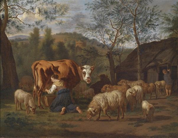 eine melkende magd mit kuh und ziegen vor dem stall by adriaen van de velde