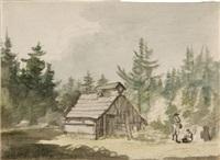 rast vor einer waldhütte (+ rastende hirten (sketch); verso) by christoph nathe