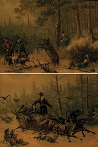 la chasse à l'ours (+ l'attaque des loups; pair) by charles leroy