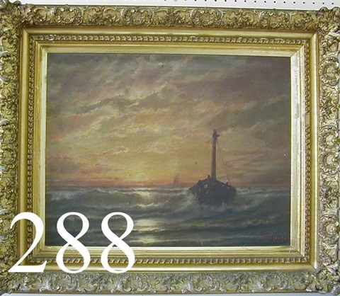 seascape with boat in rough water and dramatic sky with setting sun by wh de haas