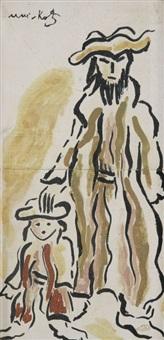 jeune juif et son fils by mané-katz