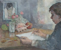 junger mann beim zeichnen eines stillebens mit früchten und muschel (er selbst?) by richard eberle