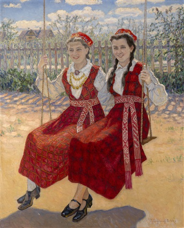 two girls on a swing by nikolai petrovich bogdanov belsky