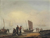 fishermen unloading their catch on a shore, men-of-war beyond by thomas luny