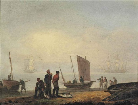 fishermen unloading their catch on a shore men of war beyond by thomas luny