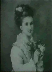 portrait of a young woman, half length, in a white frilled dress holding roses by alice renshaw