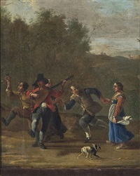 figures music making and drinking in a landscape by johannes lingelbach