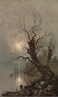 a tree on the banks of a moonlit lake by anatolii pavlovich baev