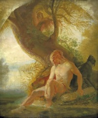 rastender germane, von einer waldjungfrau belauscht by wilhelm lindenschmit the elder