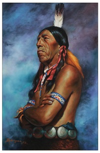 portrait of black elk (south dakota sioux, died 1973) by alfredo rodriguez