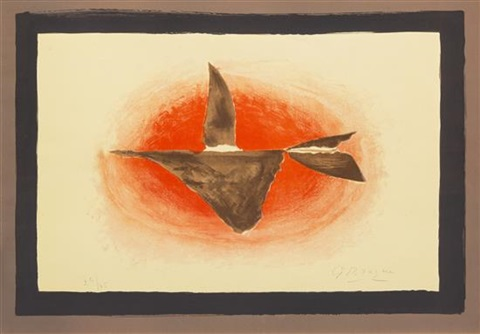 au couchant oiseau xvi by georges braque