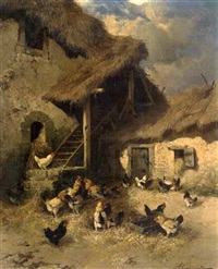 farm scene with chickens by g. abrassart