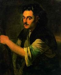 portrait of a man, half-length, holding an oar by pieter van bleeck