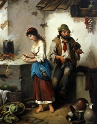 maid and pedlar before a house together (+ maid and pedlar playing the violin in a kitchen interior; pair) by f. morelli