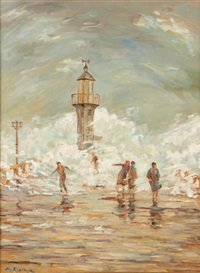 le phare par gros temps by albert rigaux