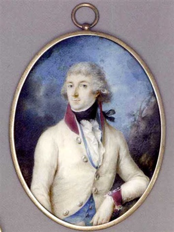a young austrian officer with his left elbow leaning against a tree in white coat with purple collar and cuffs light blue waistcoat frilled cravat and black stock powdered hair by johann baptist anker