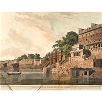 the taje mahel; the rock at trinchinopoly, taken on the river cauvery; dusasumade gaut, at bernares, on the ganges by thomas daniell