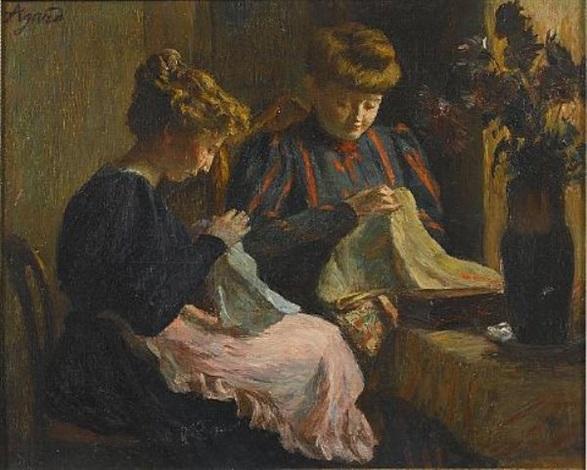 deux femmes cousant by charles jean agard