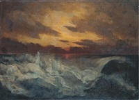 tramonto sul mare in burrasca by louis d' aquila de bourbon