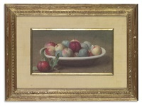 a still-life with apples and plums in a dish by victoria dubourg fantin-latour