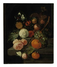 roses, lilies, grapes, oranges and horse chestnuts on a stone ledge with butterflies, ants and a bee by david cornelisz heem iii