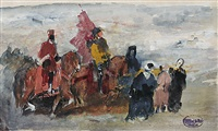 marokkaner zu pferd und zu fuß - rastende reiter in einer stadt (2 works) by otto von faber du faur